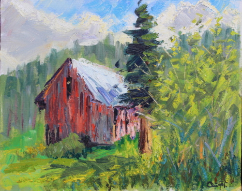 Plein Air-Red Barn in Summer, CO by Terry Ouimet Fine Art