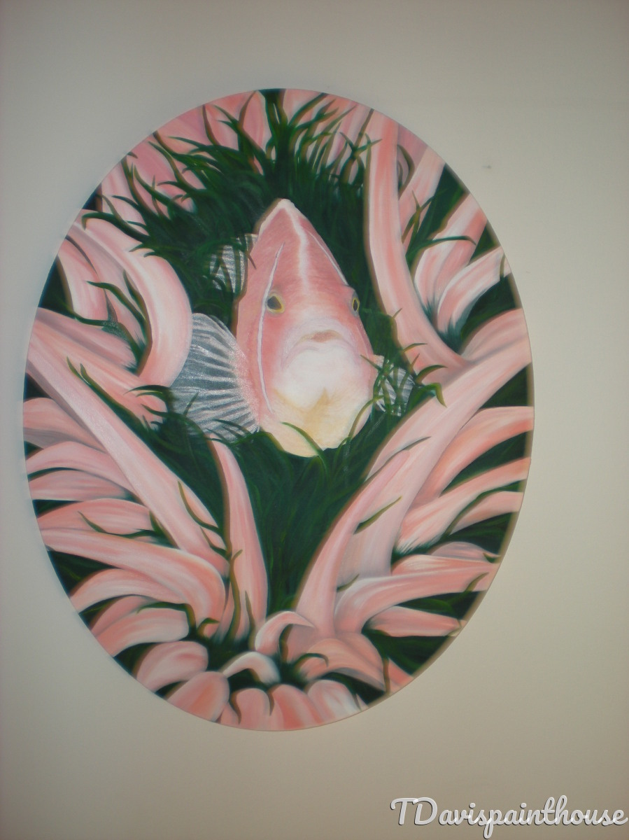 "Tropical Marine Life Original Oil Painting on Canvas 16"" x 20"" Oval Canvas, Pink Anemone Fish Hide n Seek (large view)"