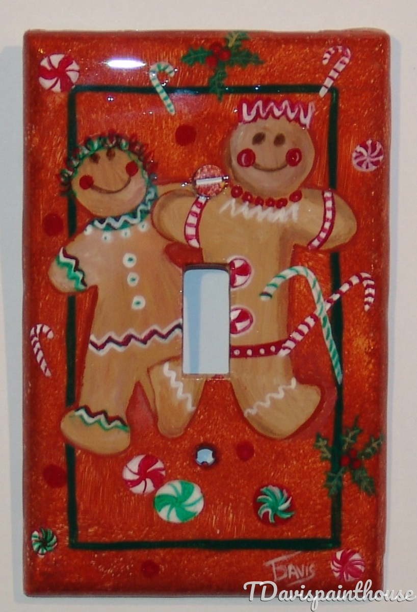 Holiday Gingerbread Cookie handpainted switchplates (large view)