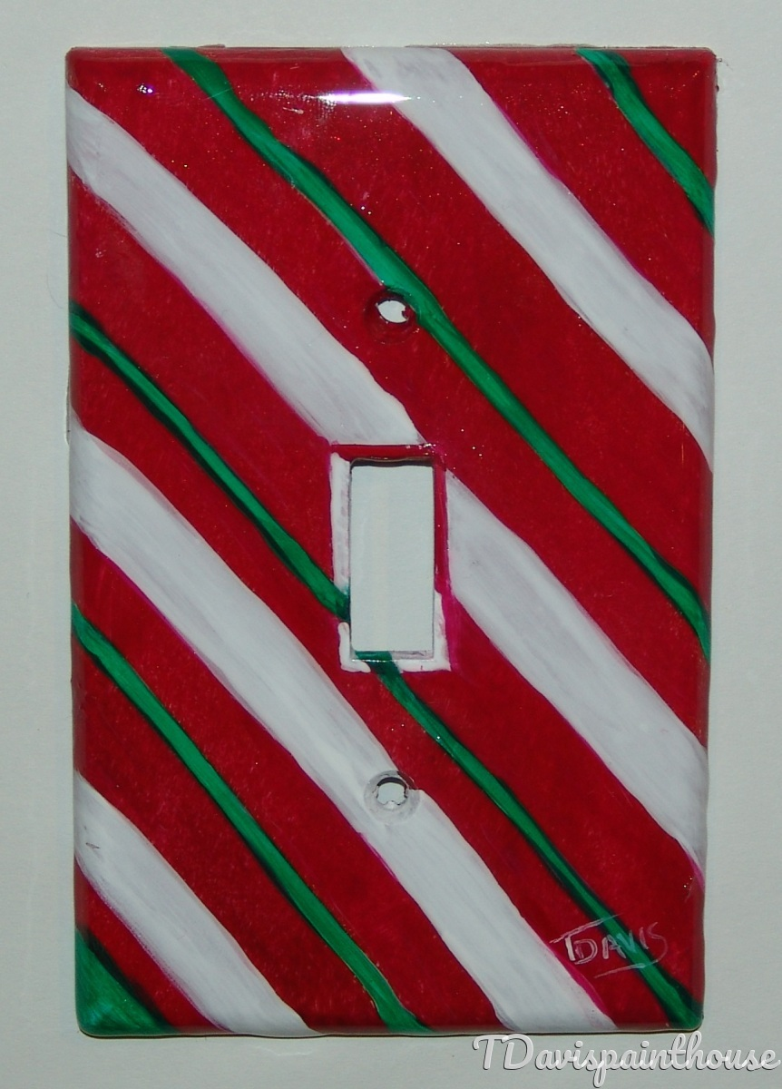 Holiday Candy Cane Stripe handpainted switchplates (large view)