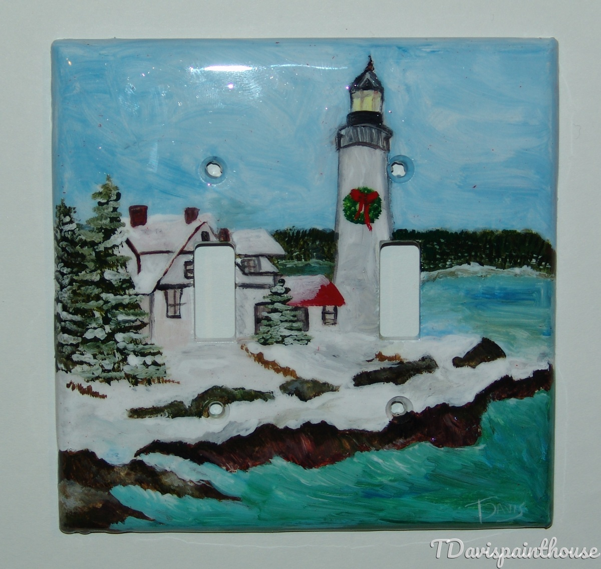 Lighthouse Nautical Winter Scene handpainted switchplates (large view)