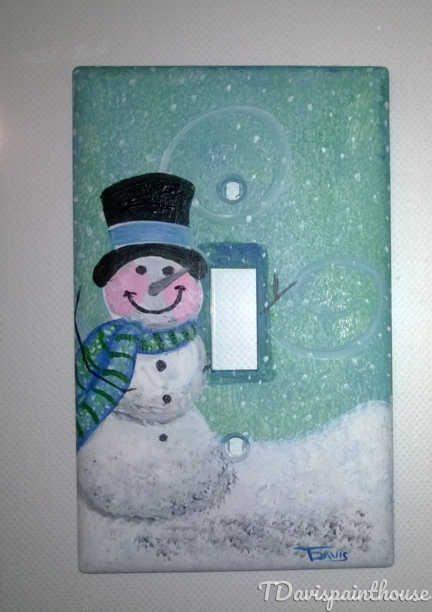 Holiday Pastel Snowman handpainted switchplate (large view)