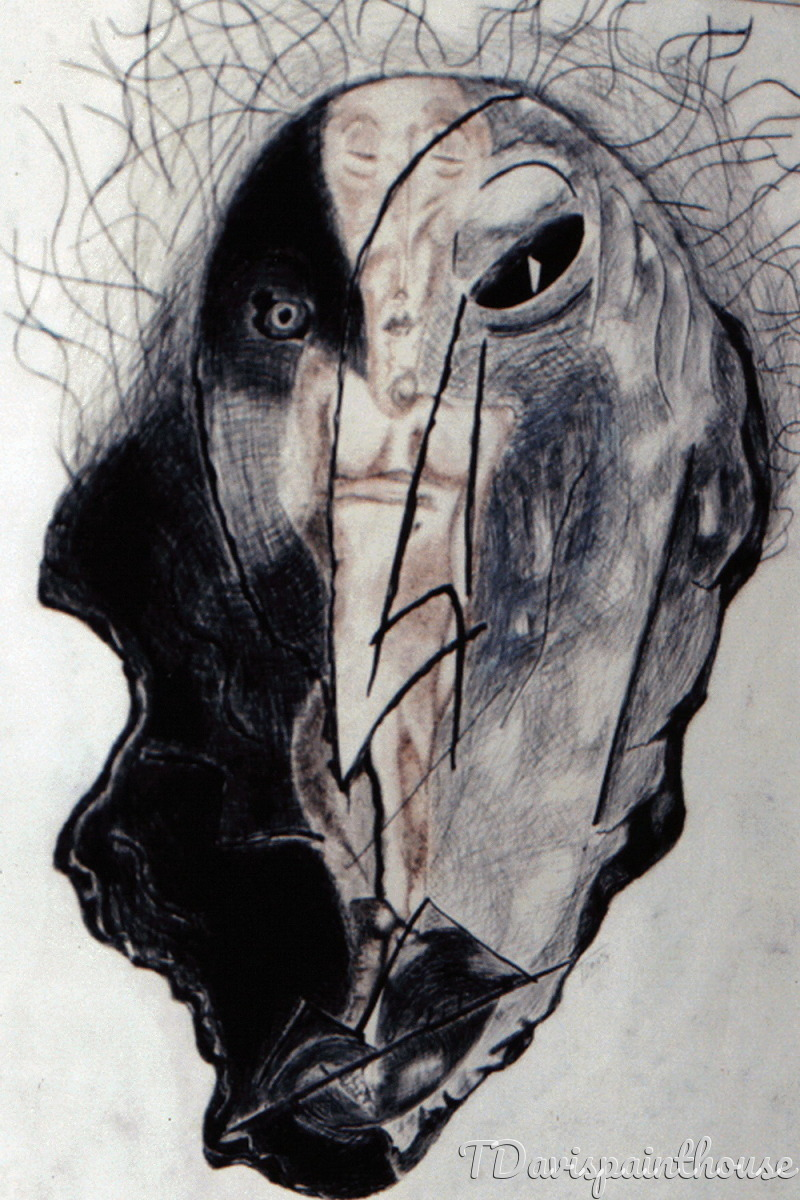 sepia charcoal and India ink drawing on acid free heavy drawing paper of an abstract nude female figure set in a distorted face mask. (large view)