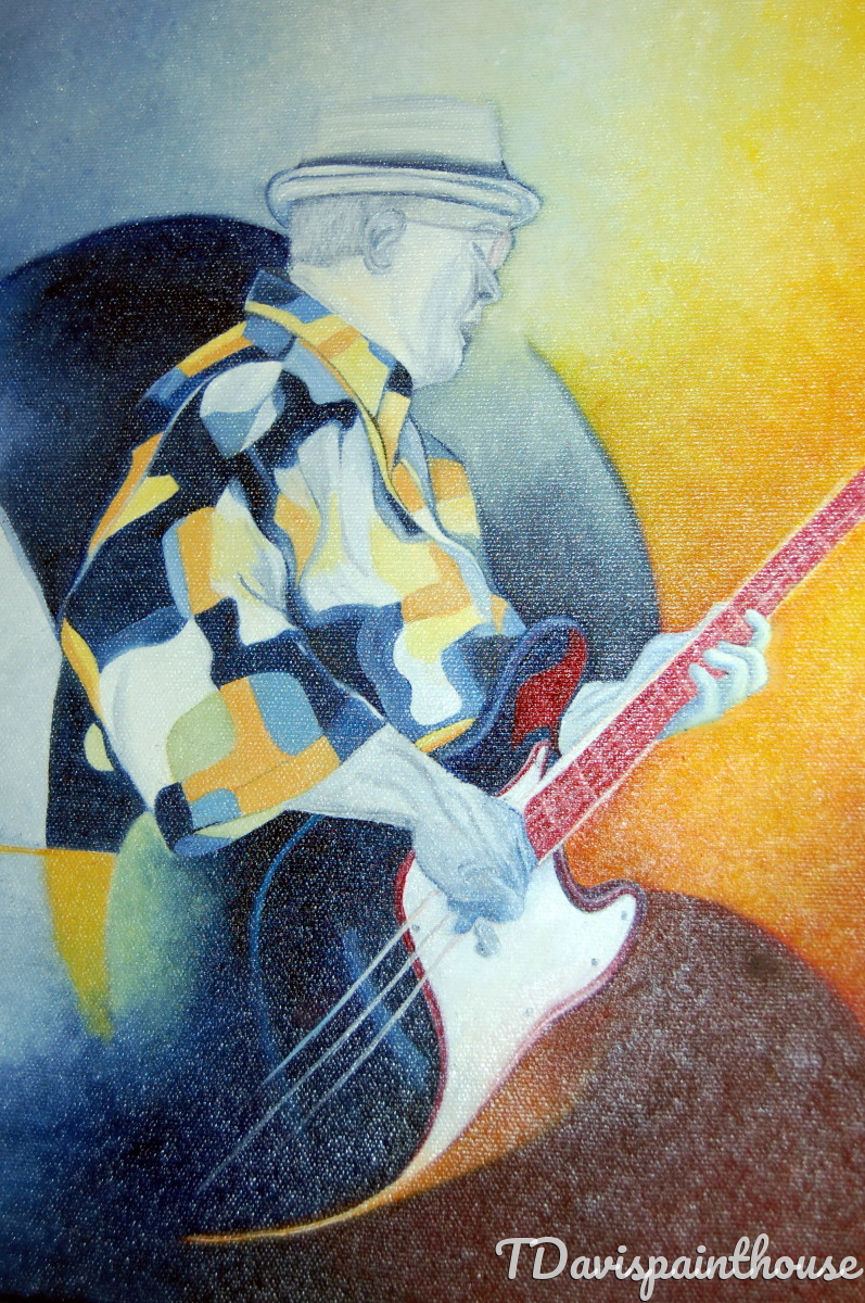 11x14 Oil Canvas Colorful Abstract Jazz Music Painting Guitarist Wall Art Gift for him (large view)