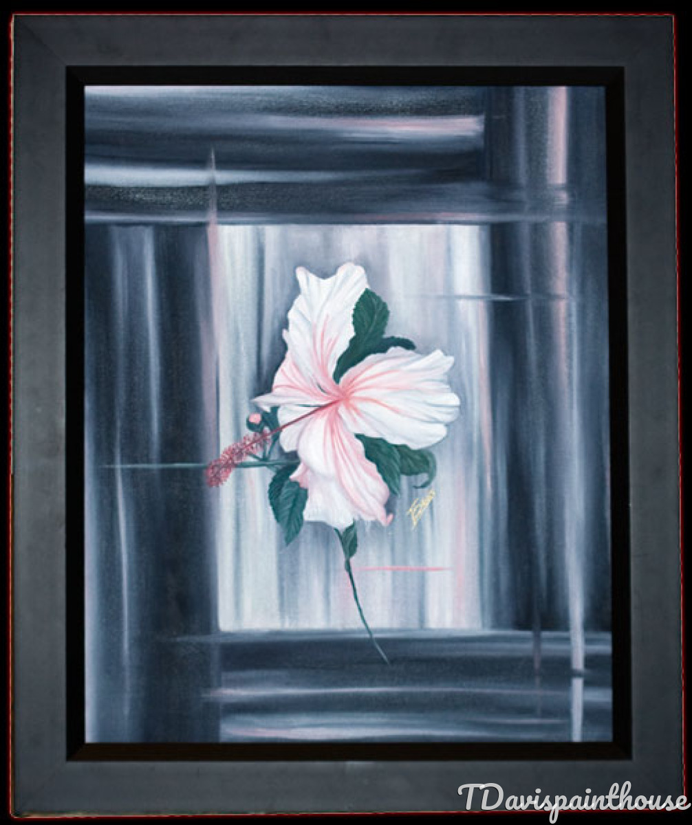 """Pink White Hibiscus in Bloom 16"""" x 20"""" Oil Painting (large view)"""
