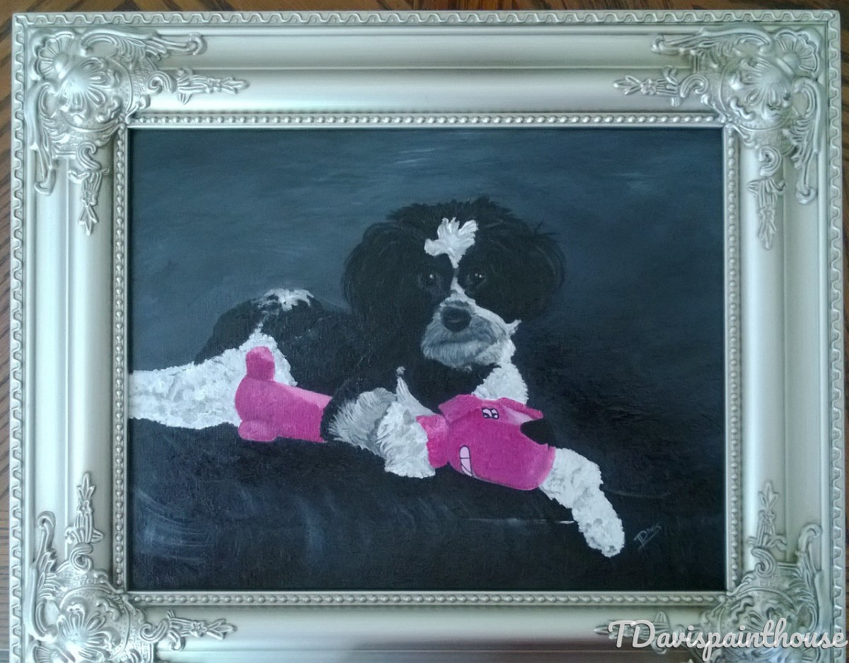 Custom Pet Portrait, Custom Dog Painting, Acrylic Animal Memory Painting on Canvas  (large view)