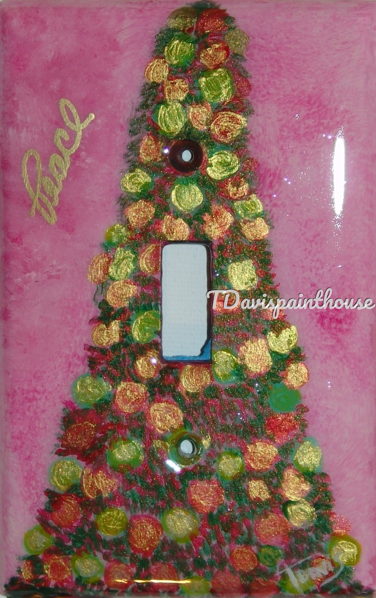 Holiday Pink Christmas tree handpainted switchplates (large view)
