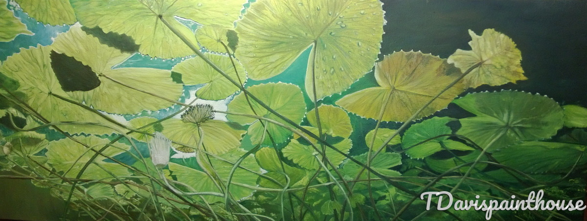 "A Look Below the Lily Pad Garden 16"" x 40""  Oil on Canvas (large view)"