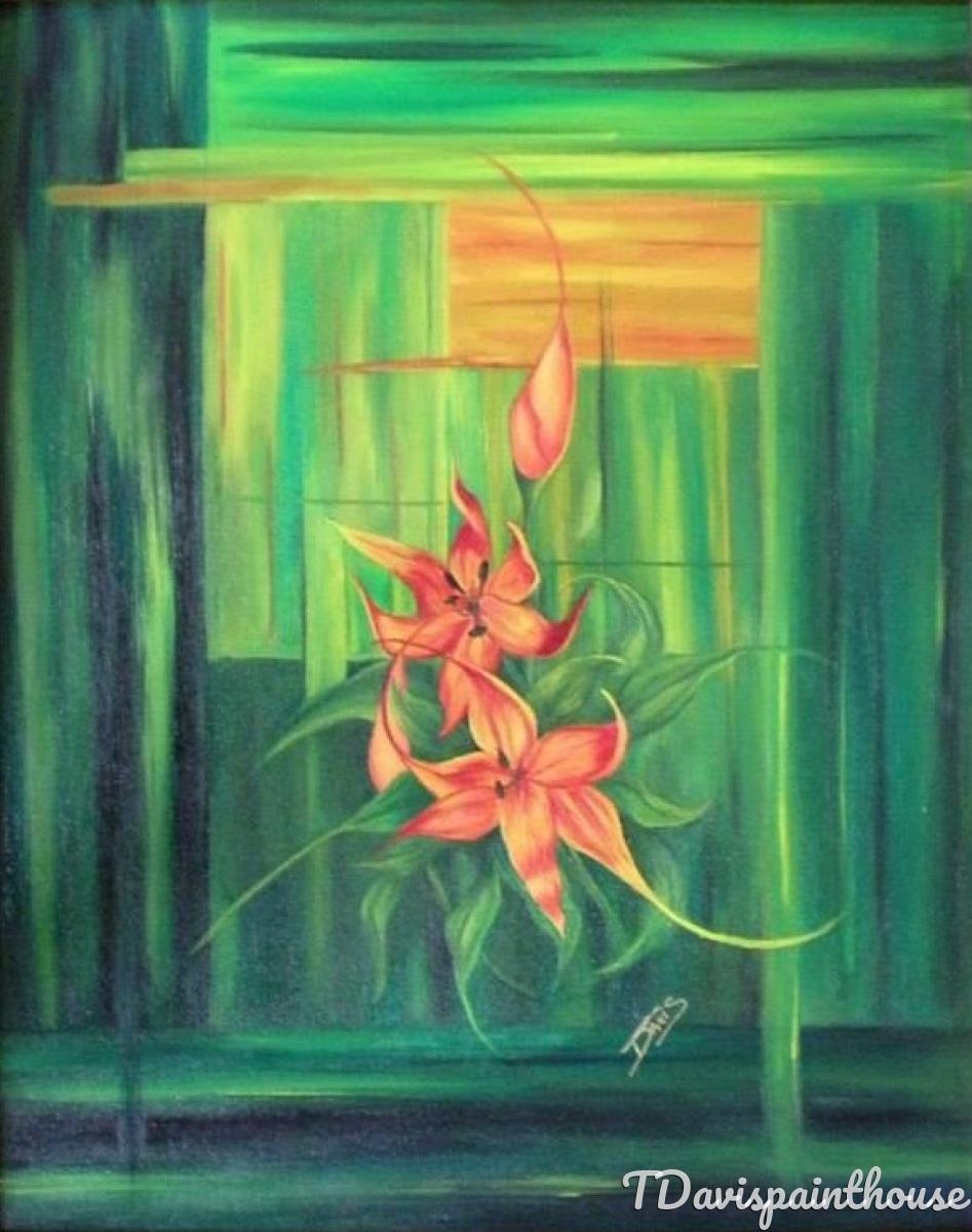 Summer Kiss / Orange Yellow Iris Original Oil Painting / Landscape Art (large view)