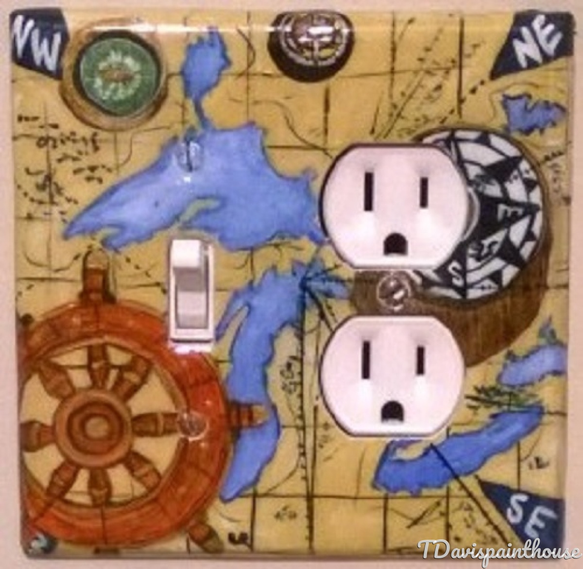 Nautical Coastal Living Home Decor Acrylic Painted Switchplate Covers featuring Great Lakes Nautical Charting Map with Ships wheel and compasses. (large view)