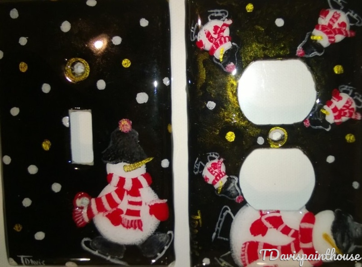 Holiday Snowman Iceskating handpainted switchplates (large view)