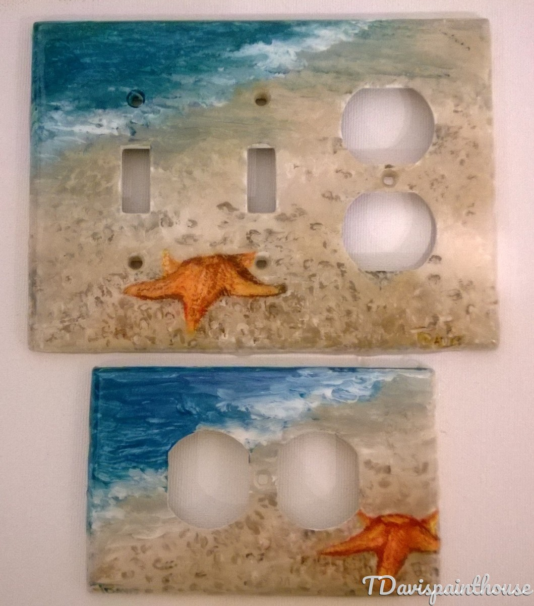 Starfish on Beach / Nautical Cottage Decor handpainted switchplates (large view)