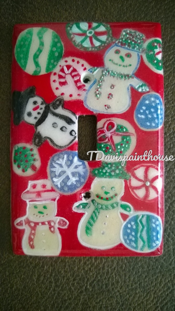 Holiday Christmas Cookie handpainted switchplate (large view)