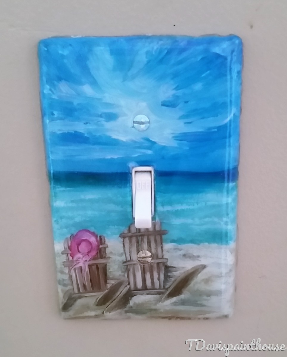 Beachside Nautical handpainted switchplates (large view)