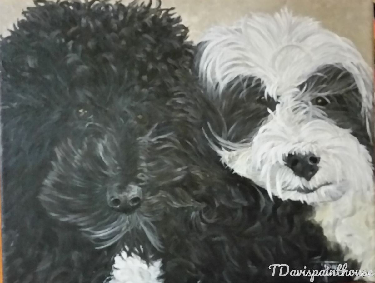 "A Forever Memory of Your Pet, Custom Double Dog Portrait Acrylic Painting on Canvas 11""x14""  (large view)"
