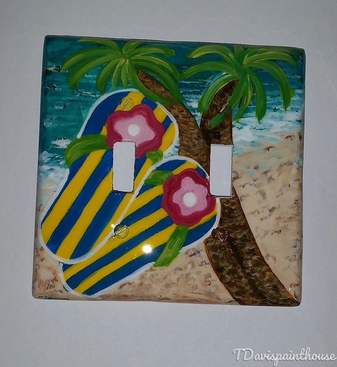 Beach / Flip Flops and Palm Trees / Light Switch Plate Hand Painted (large view)