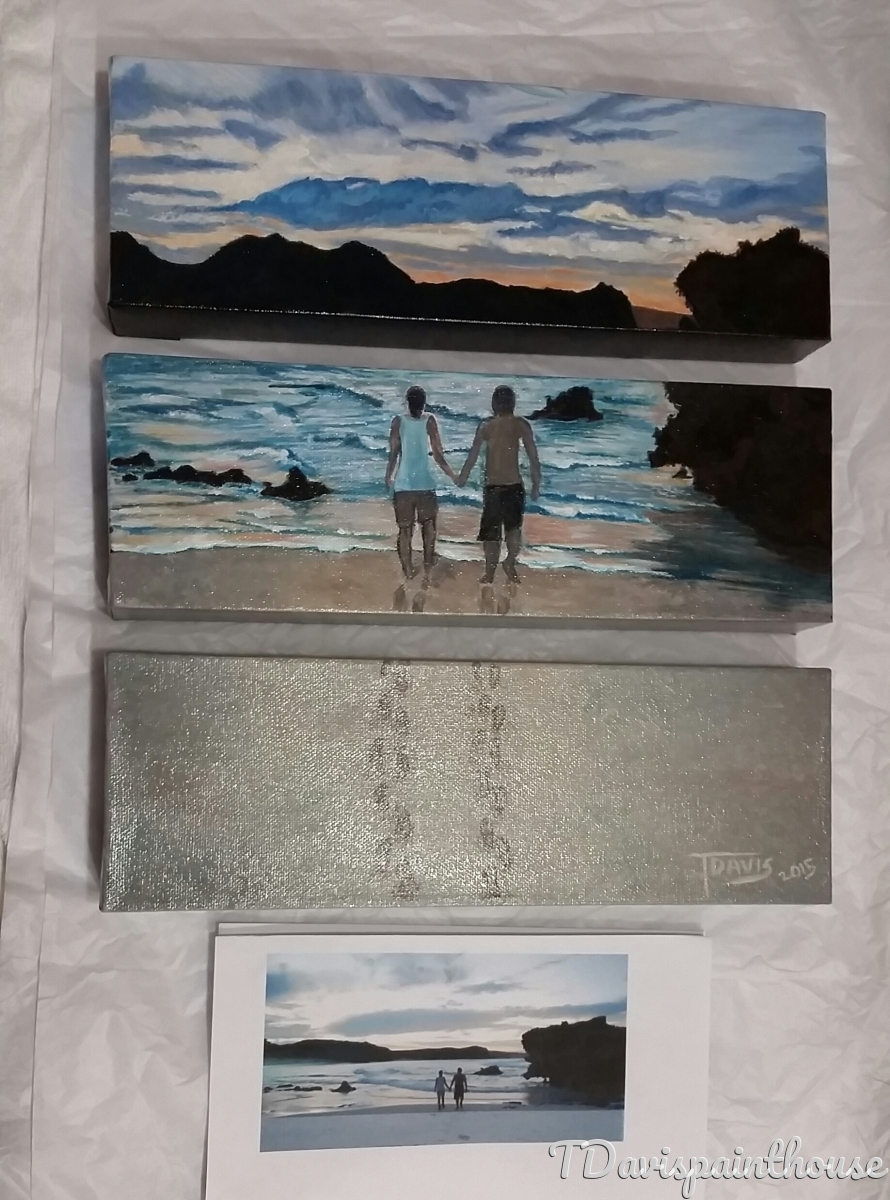 "Custom Painting by photo, triptych art, Acrylic on Canvas 4"" h x 3"" w x 12"" l (large view)"