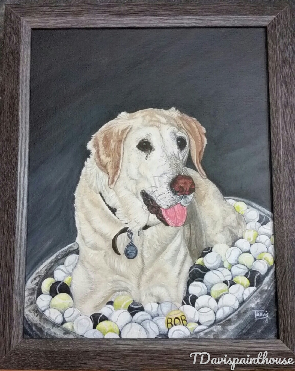 Commissioned Yellow Lab Dog Memory Painting, Animal Portrait, Pet Memorial Painting, Dog Painting, Commission Painting, Free Shipping (large view)