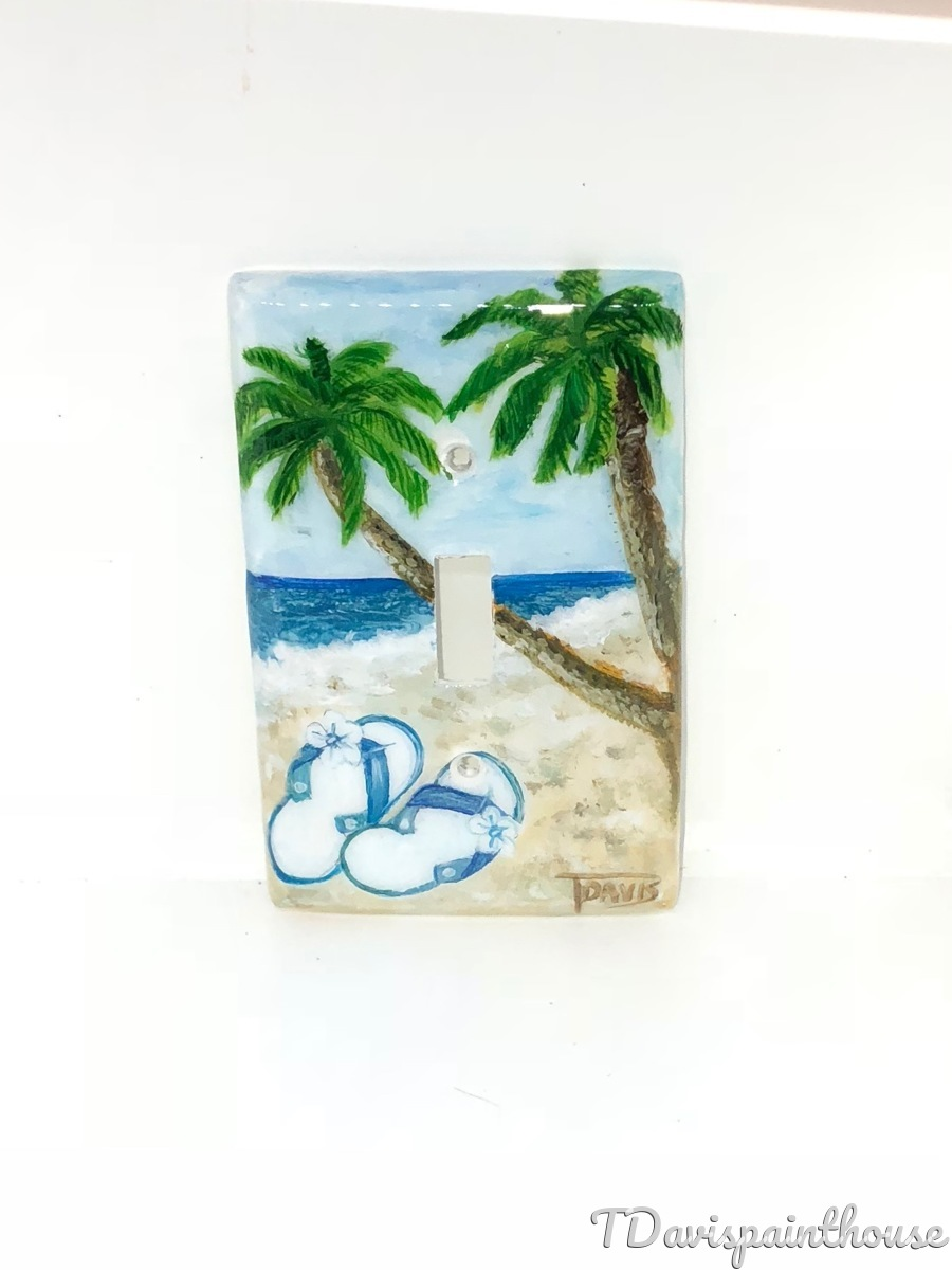 Tropical Beach Flip Flops and Palm Trees (large view)