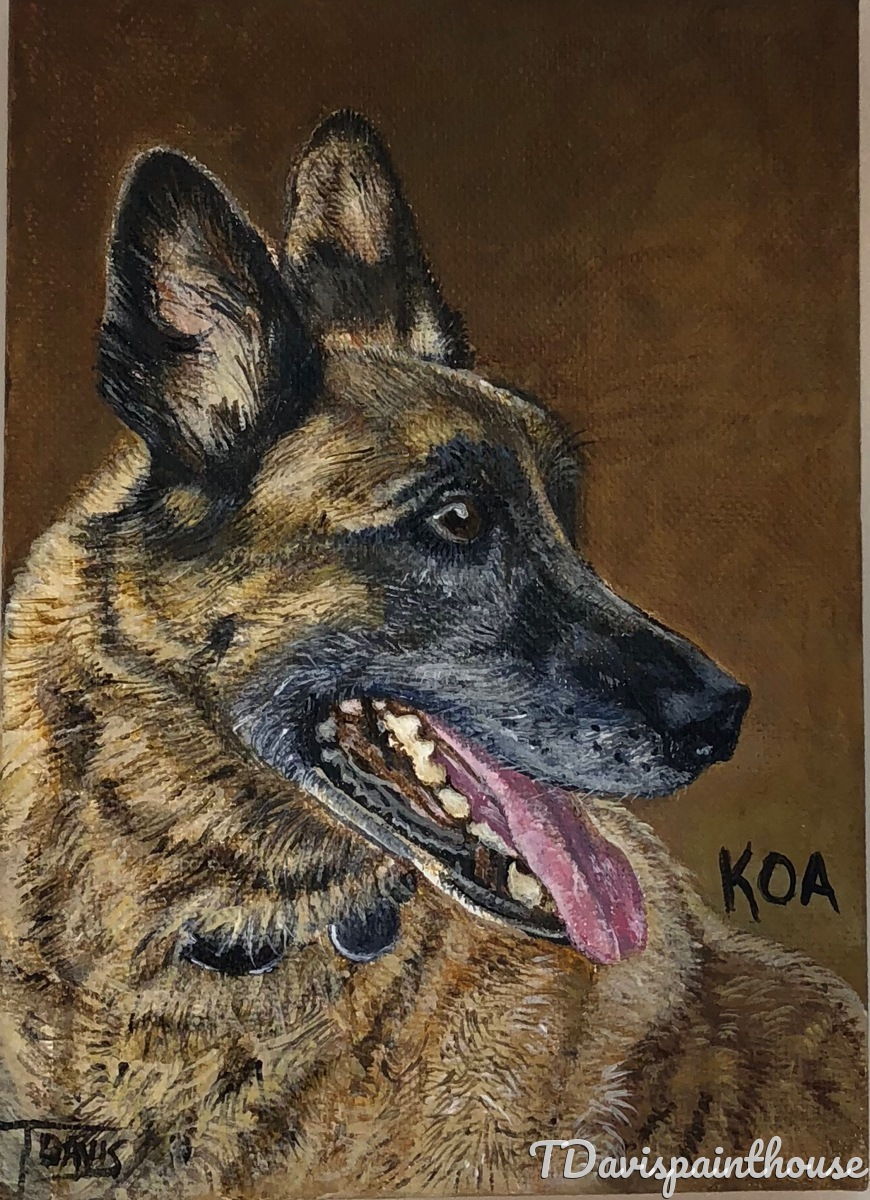 5 x 7 Custom Animal Dog Painting, Acrylic Animal Memory Painting on Canvas, Free Shipping (large view)