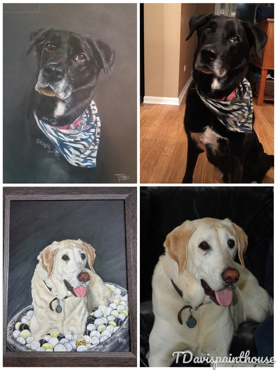 Custom Lab Pet Portrait, Custom Dog Painting, Acrylic Animal Memory Painting on Canvas, Free Shipping (large view)