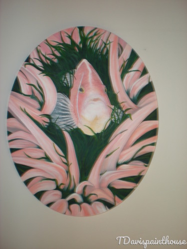 Tropical Marine Life Original Oil Painting on Canvas 16 x 20 Oval Canvas, Pink Anemone Fish Hide n Seek