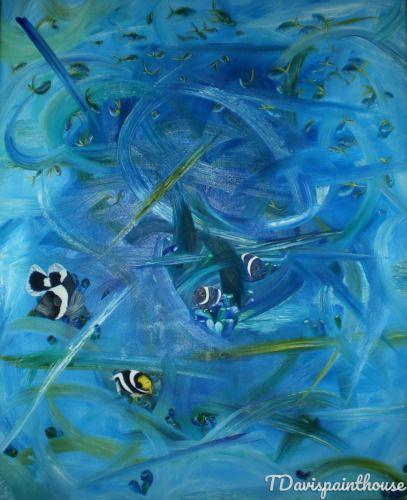 Tropical Marine Life Original Blue Abstract Oil Painting on Canvas 24
