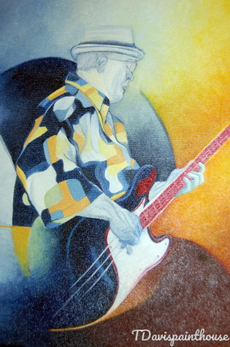11x14 Oil Canvas Colorful Abstract Jazz Music Painting Guitarist Wall Art Gift for him by Tdavispainthouse