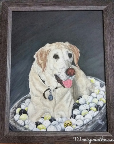 Commissioned Yellow Lab Dog Memory Painting, Animal Portrait, Pet Memorial Painting, Dog Painting, Commission Painting, Free Shipping