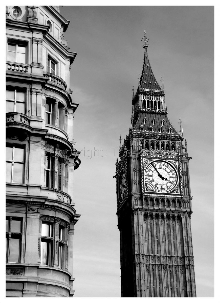 black & white photography, Big Ben, England (large view)