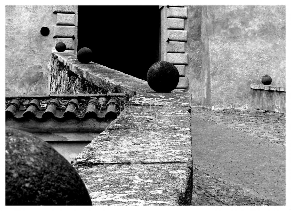 black & white photography, Czech Republic, Cesky Krumlov, Castle (large view)