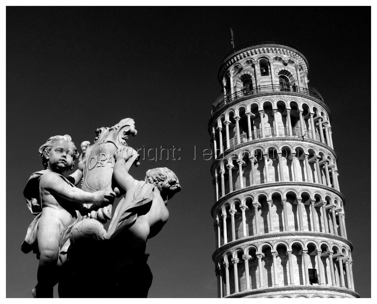 black & white photography, Pisa, Italy, Bell Tower, Leaning Tower (large view)