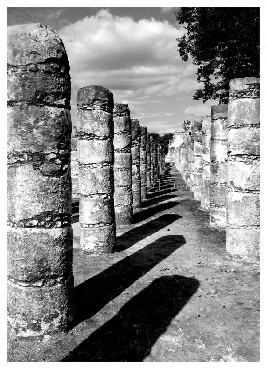 black & white photography, Chichen Itza, Yucatan, Mexico (large view)