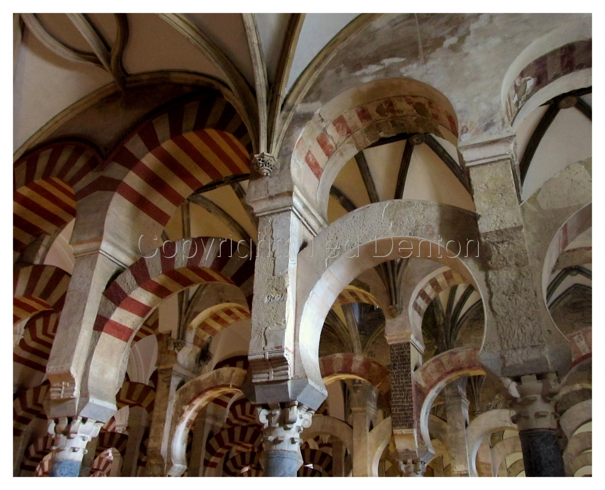 Color Photograph, Mezquita, Cordoba, Spain, interior (large view)