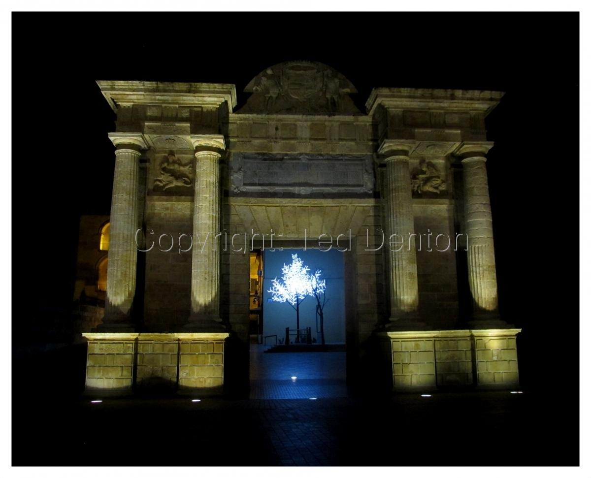 Color Photograph, Cordoba, Spain, night, gateway, Roman Gate (large view)