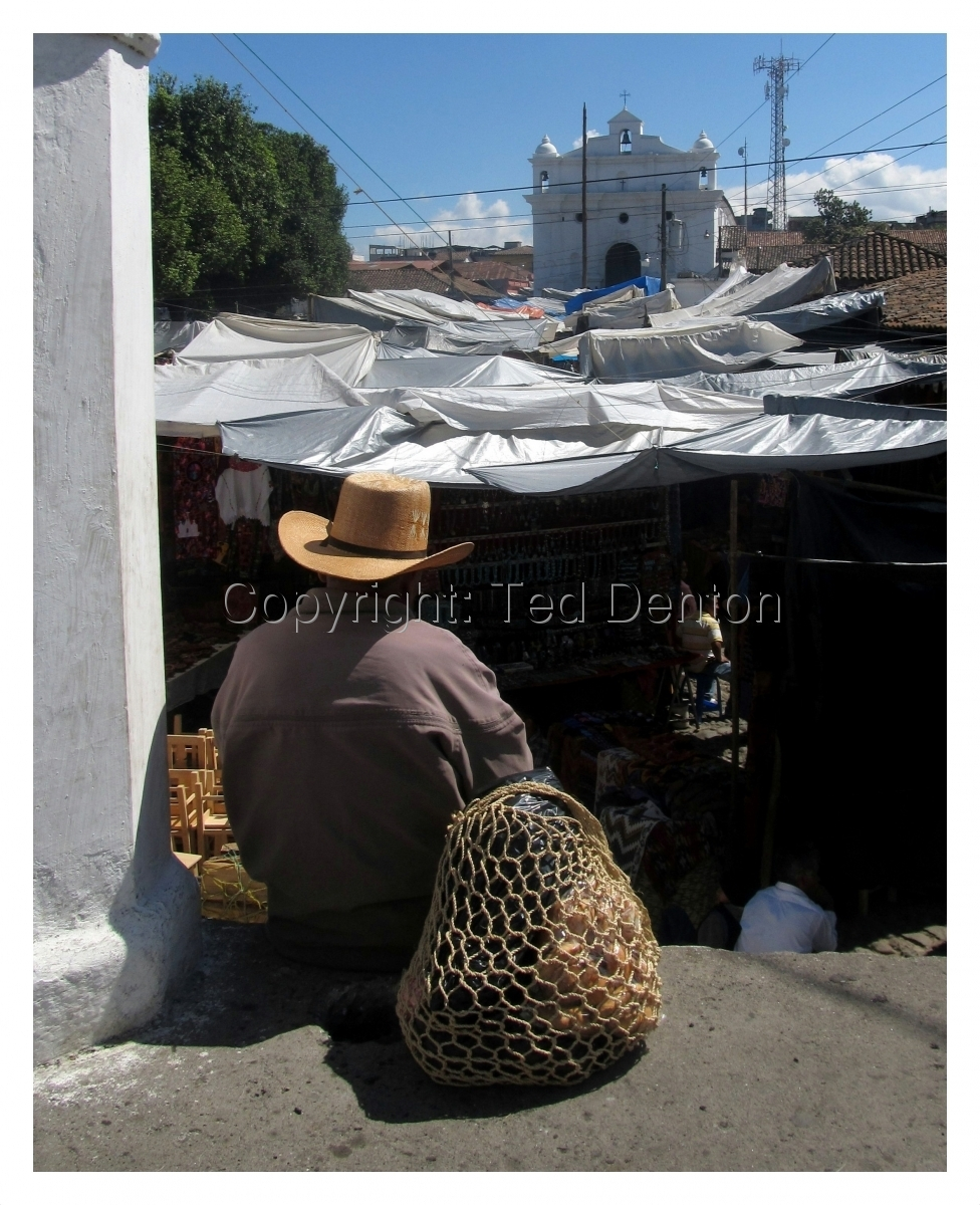 photography,Chichicastenago, Guatemala, person looking at the market (large view)