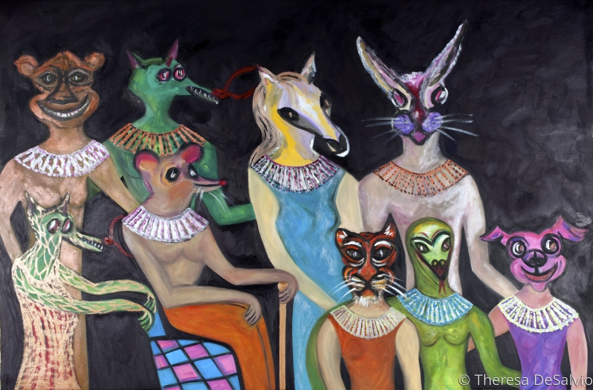 Family Portrait with Ancestors as Chinese Zodiac Animals in the Egyptian Style (large view)