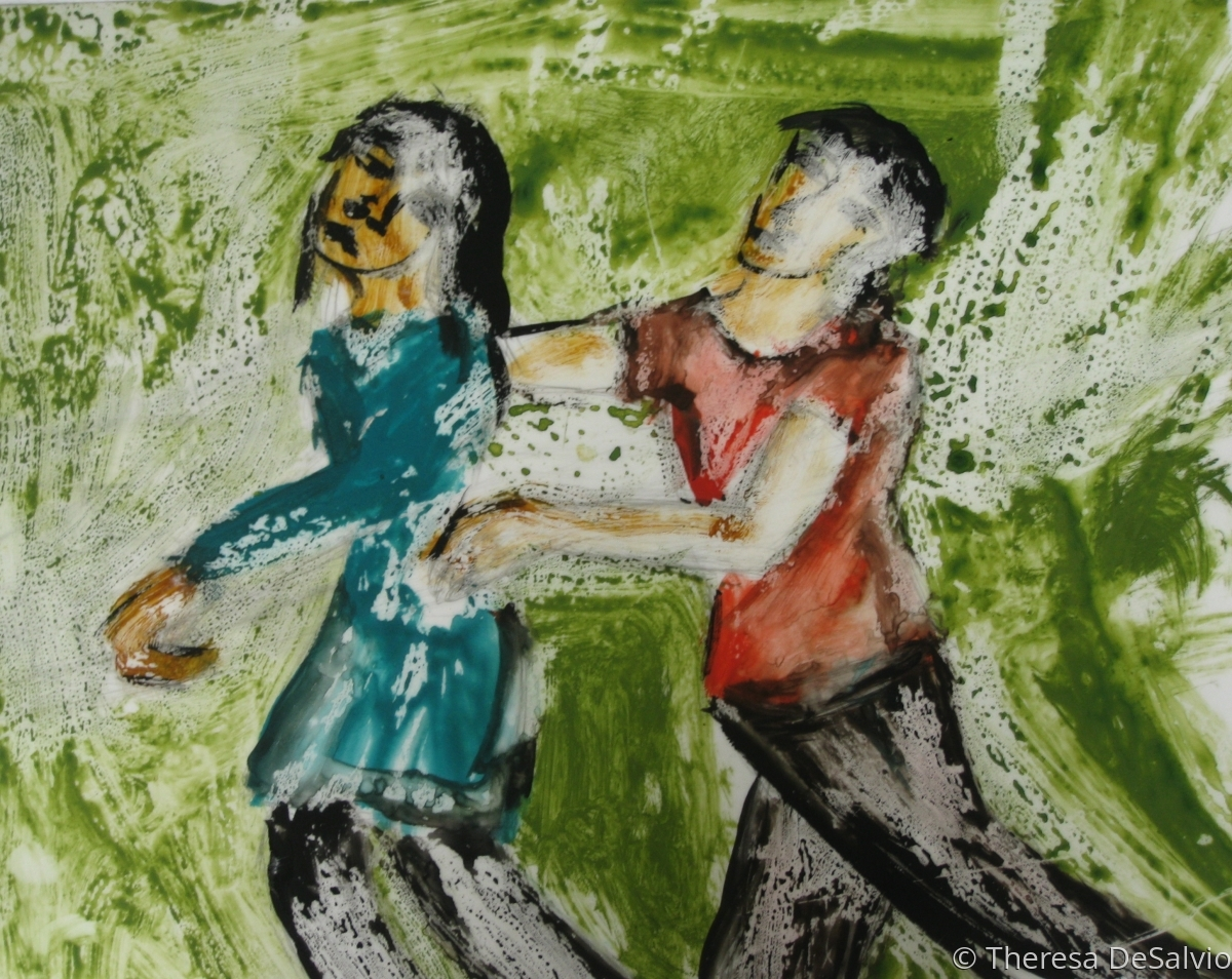 Two figures painted in expressionist style engaged in ambiguous drama. (large view)
