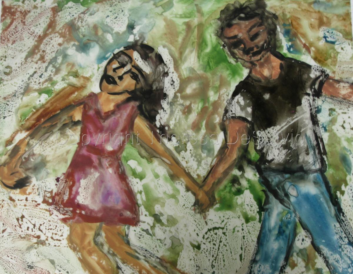 Two figures painted in expressionist style (large view)