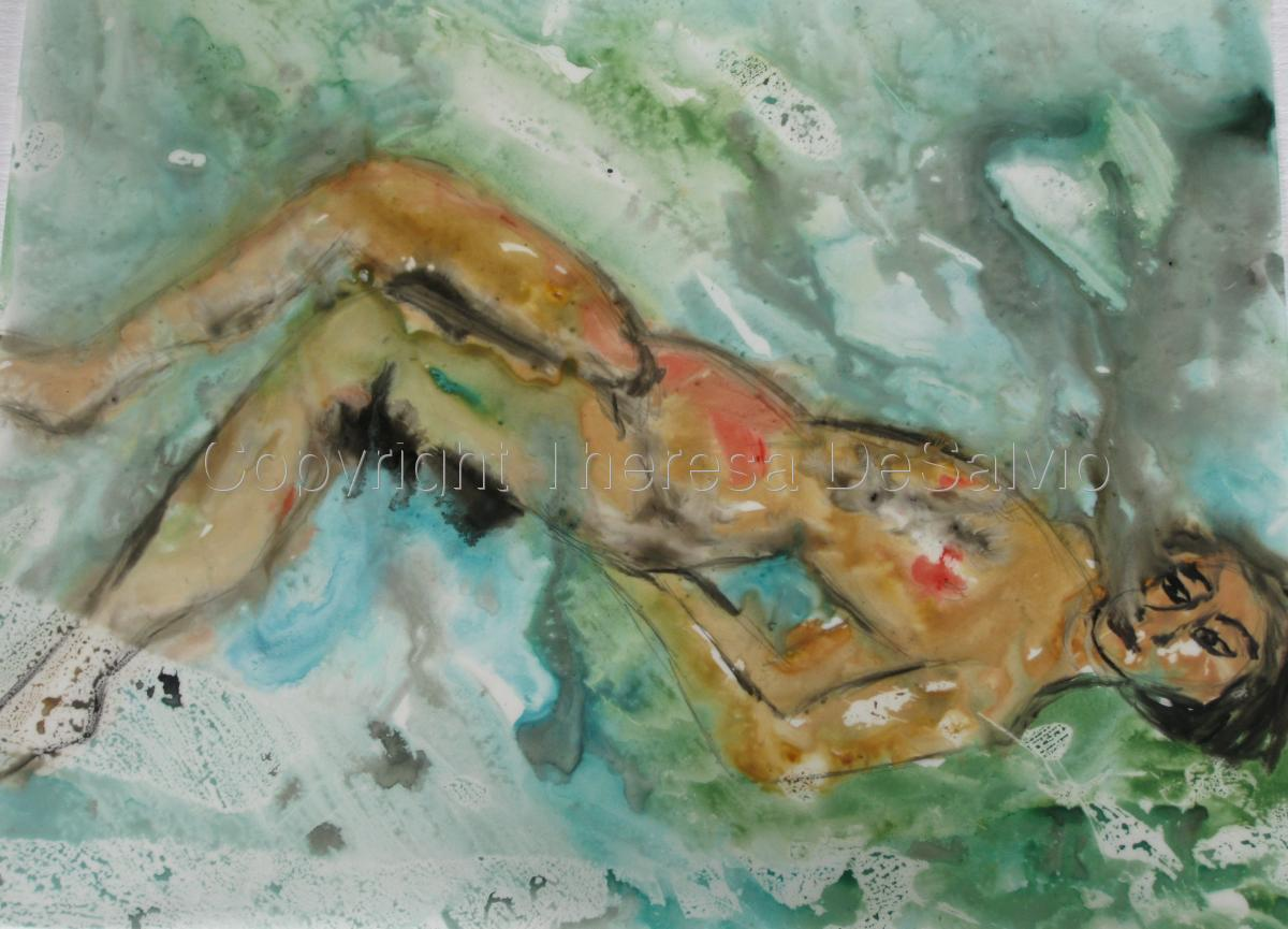 Expressionist painting of floating figure.  (large view)