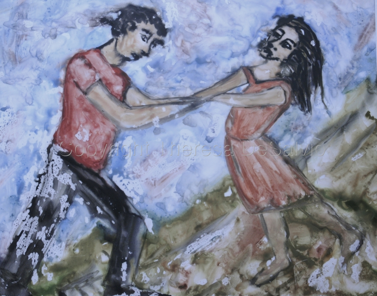 theresa desalvio, paintings, figurative, two figures meeting on a hill (large view)