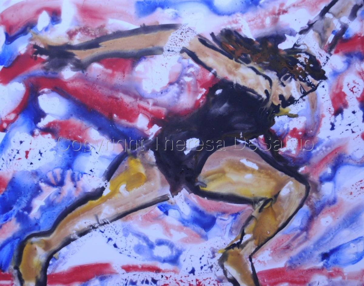 Image of powerful woman running (large view)