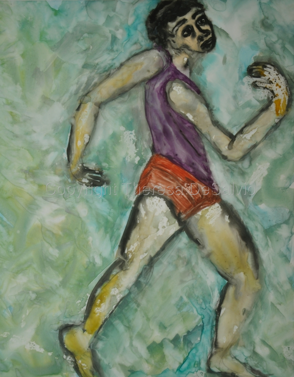 Expressionist style image of figure running (large view)