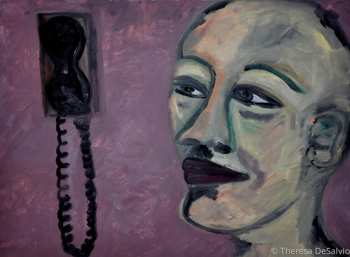 Expressionist portrait of person with telephone (large view)