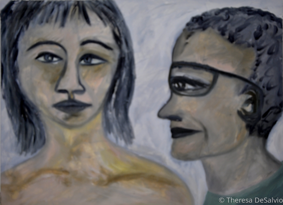 Expressionist portrait of two figures (large view)