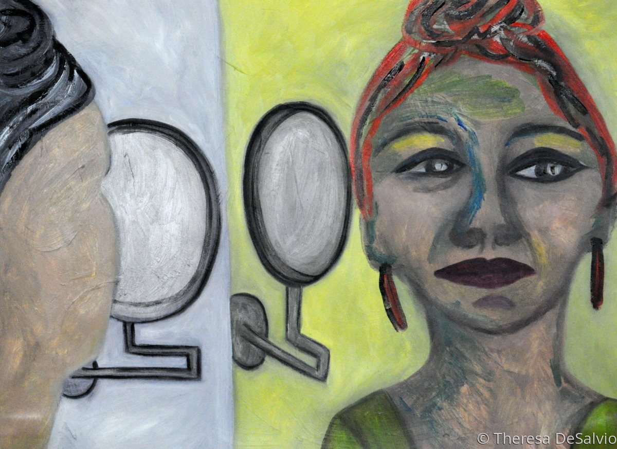Expressionist portrait of woman seeing reflection (large view)