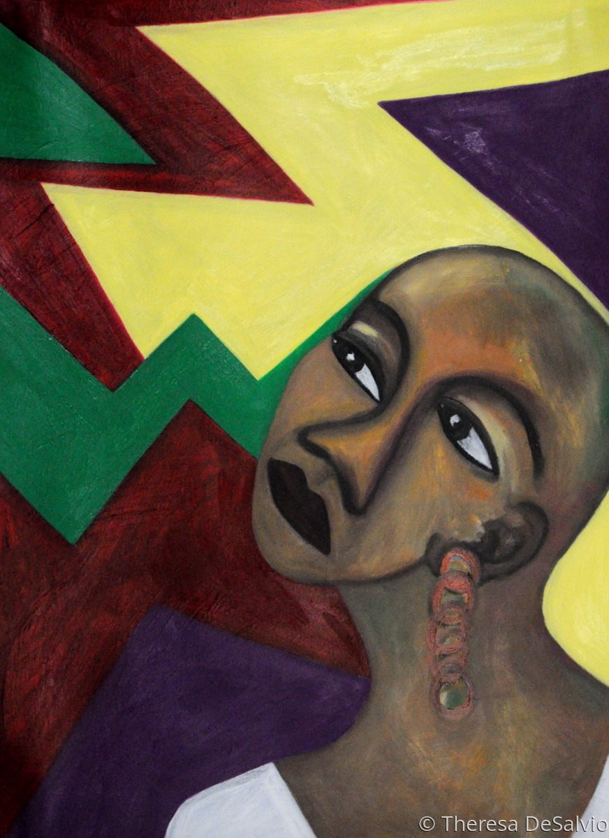 """Bold abstract background with woman looking upward questioning """"Why Me?"""" (large view)"""