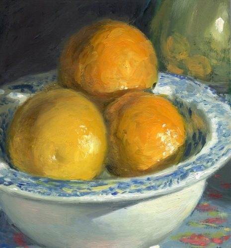 Oranges in Blue and White Dish