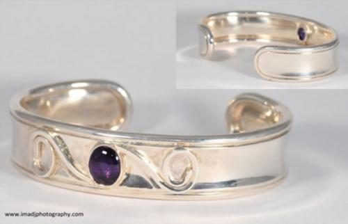 Amethyst gemstone Silver CUff