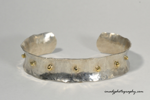 Hammered Silver and Gold Cuff